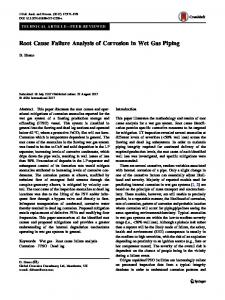 Root Cause Failure Analysis of Corrosion in Wet Gas Piping