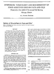 Safety of emulsifiers in fats and oils