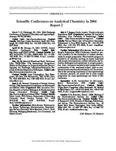 Scientific Conferences on Analytical Chemistry in 2004 Report 2