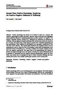Second Wave Positive Psychology: Exploring the Positive–Negative Dialectics of Wellbeing