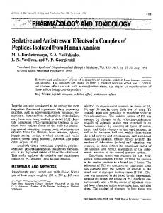 Sedative and antistressor effects of a complex of peptides isolated from human amnion