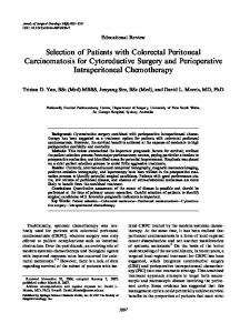 Selection of Patients with Colorectal Peritoneal Carcinomatosis for Cytoreductive Surgery and Perioperative Intraperitoneal Chemotherapy