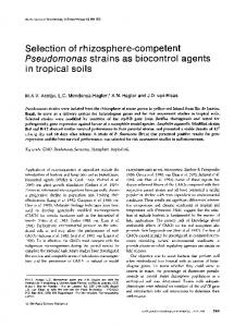 Selection of rhizosphere-competent Pseudomonas strains as biocontrol agents in tropical soils