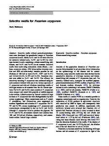 Selective media for Fusarium oxysporum