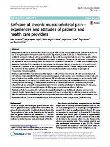 Self-care of chronic musculoskeletal pain – experiences and attitudes of patients and health care providers