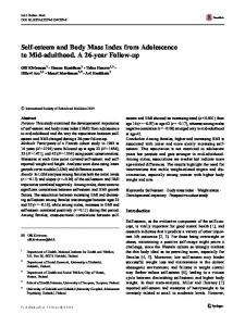 Self-esteem and Body Mass Index from Adolescence to Mid-adulthood. A 26-year Follow-up