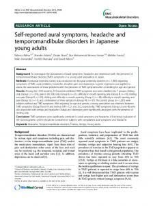 Self-reported aural symptoms, headache and temporomandibular disorders in Japanese young adults