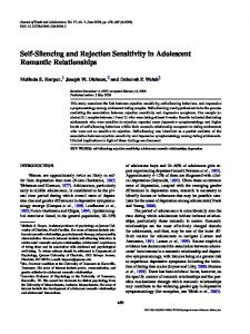 Self-Silencing and Rejection Sensitivity in Adolescent Romantic Relationships