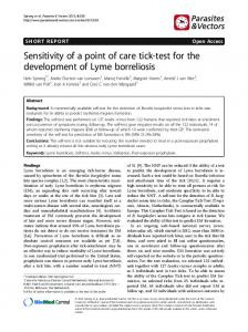 Sensitivity of a point of care tick-test for the development of Lyme borreliosis