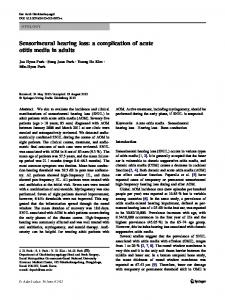 Sensorineural hearing loss: a complication of acute otitis media in adults