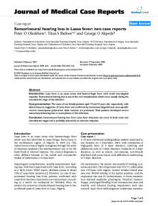 Sensorineural hearing loss in Lassa fever: two case reports
