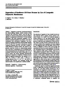 Separation of Sunflower Oil from Hexane by Use of Composite Polymeric Membranes