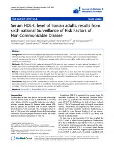 Serum HDL-C level of Iranian adults: results from sixth national Surveillance of Risk Factors of Non-Communicable Disease
