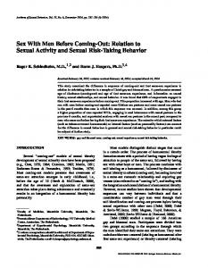 Sex with Men Before Coming-Out: Relation to Sexual Activity and Sexual Risk-Taking Behavior