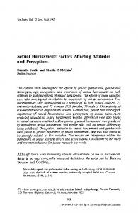 Sexual harassment: factors affecting attitudes and perceptions