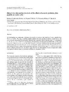 Shiva-1: in vitro and in vivo tests of the effects of a novel, synthetic, lytic peptide on ocular cells