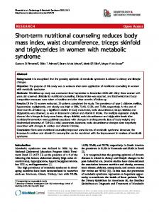 Short-term nutritional counseling reduces body mass index, waist circumference, triceps skinfold and triglycerides in women with metabolic syndrome