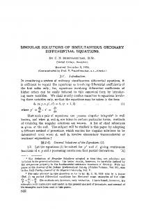 Singular solutions of simultaneous ordinary differential equations