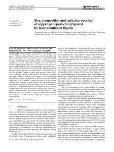 Size, composition and optical properties of copper nanoparticles prepared by laser ablation in liquids