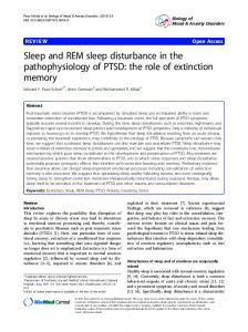 Sleep and REM sleep disturbance in the pathophysiology of PTSD: the role of extinction memory