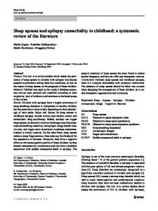 Sleep apneas and epilepsy comorbidity in childhood: a systematic review of the literature