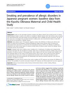 Smoking and prevalence of allergic disorders in Japanese pregnant women: baseline data from the Kyushu Okinawa Maternal and Child Health Study