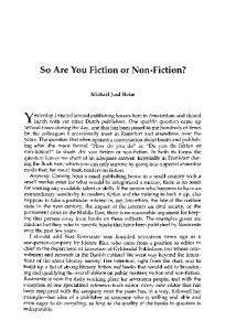 So are you fiction or non-fiction?