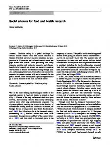 Social sciences for food and health research