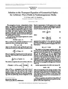 Solution to the transport equation of geometrical optics for arbitrary wave fields in nonhomogeneous media