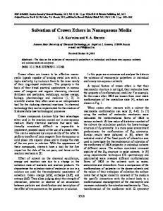 Solvation of crown ethers in nonaqueous media