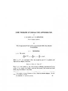Some problems of diophantine approximation