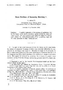 Some problems of symmetry breaking
