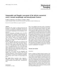 Sonographic and Doppler assessment of the inferior mesenteric artery: normal morphologic and hemodynamic features