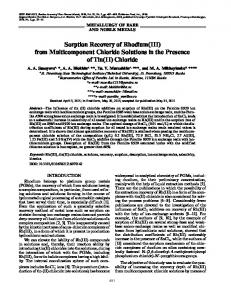 Sorption recovery of rhodium(III) from multicomponent chloride solutions in the presence of tin(II) chloride