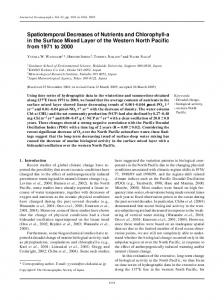 Spatiotemporal Decreases of Nutrients and Chlorophyll-a in the Surface Mixed Layer of the Western North Pacific from 1971 to 2000