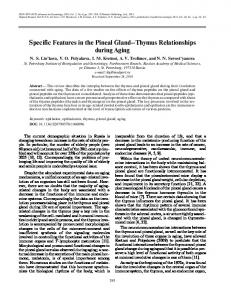 Specific features in the pineal gland-thymus relationships during aging