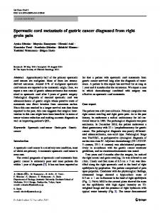 Spermatic cord metastasis of gastric cancer diagnosed from right groin pain