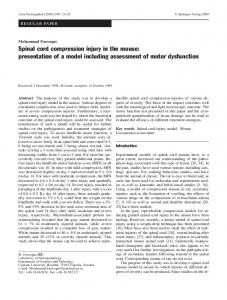 Spinal cord compression injury in the mouse:  presentation of a model including assessment of motor dysfunction