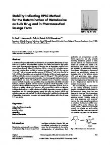 Stability-Indicating HPLC Method for the Determination of Metadoxine as Bulk Drug and in Pharmaceutical Dosage Form