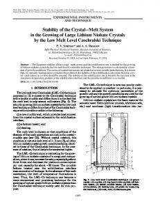 Stability of the crystal-melt system in the growing of large lithium niobate crystals by the low melt level Czochralski technique