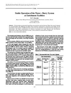 Stable operation of the water-slurry system at enrichment facilities