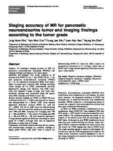 Staging accuracy of MR for pancreatic neuroendocrine tumor and imaging findings according to the tumor grade