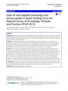 State of viral hepatitis knowledge and testing uptake in Brazil: Findings from the National Survey of Knowledge, Attitudes and Practices (PCAP-2013)
