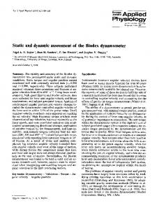 Static and dynamic assessment of the Biodex dynamometer