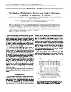 Sterilization of solutions by underwater electric discharges