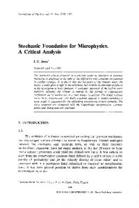 Stochastic foundation for microphysics. A critical analysis