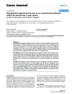 Strangulated inguinal hernia due to an omental band adhesion within the hernial sac: a case report