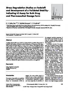 Stress Degradation Studies on Tadalafil and Development of a Validated Stability-Indicating LC Assay for Bulk Drug and Pharmaceutical Dosage Form