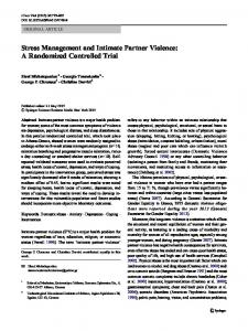 Stress Management and Intimate Partner Violence: A Randomized Controlled Trial