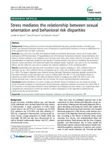 Stress mediates the relationship between sexual orientation and behavioral risk disparities